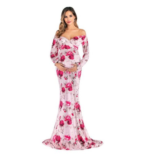 Shoulderless Maternity Dresses Floral Long Pregnant Women Pregnancy Dress Photography Props Maxi Maternity Gown For Photo Shoots
