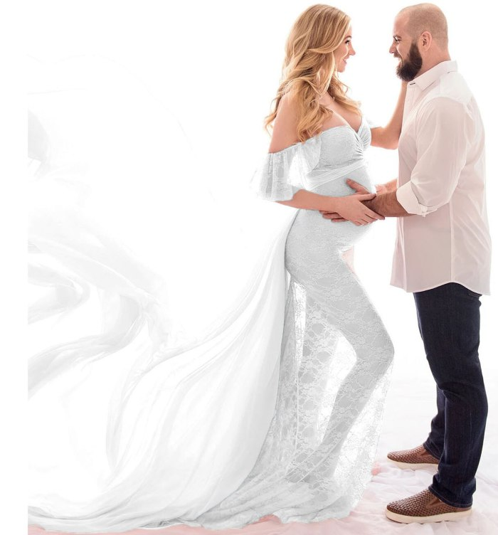 Elegant Shoulderless Maternity Photography Props Long Dress For Pregnant Women Fancy Pregnancy Dress Sexy Maxi Gown Photo Shoot