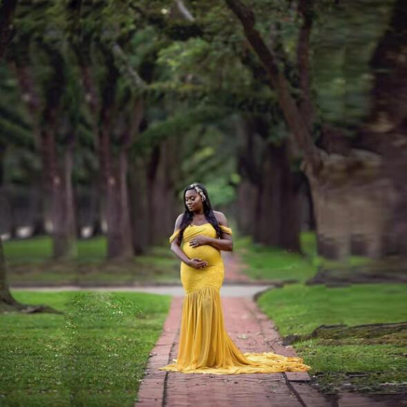 Summer Pregnant Women Lace Long Baby Shower Dress Pregnancy Chiffon Maxi Photography Clothes Maternity Gown Dresses Photo Shoot