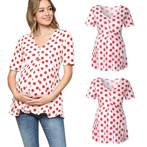 Maternity Breastfeeding T-Shirt Maternity Clothes Summer V-Neck Short Sleeve Dot Print Ladies Blouse Tops for Pregnant Clothes