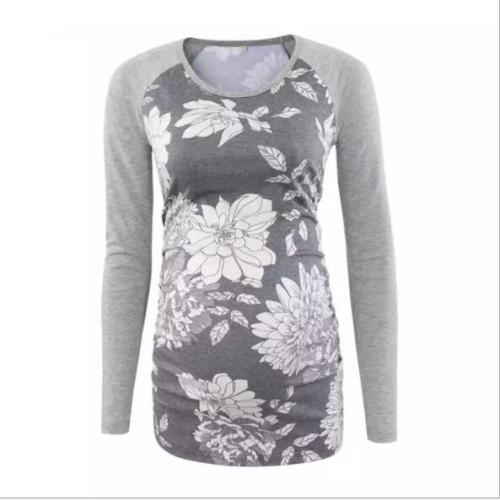 Women's Maternity Tunic Tops Mama Clothes Flattering Side Ruched Long Sleeve Scoop Neck Pregnancy T-shirt