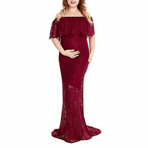New Style Women's Maternity Lace Dress Pregnant Photography Props Long Solid Photo Shoot Gown Lace See Through Fashion Hot 2021
