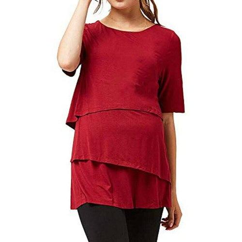 Brand New Women Tees Maternity Nursing Top Short Sleeve Breastfeeding T Shirt O-Neck Hot Short Sleeve Solid Ruffles Hot 2019