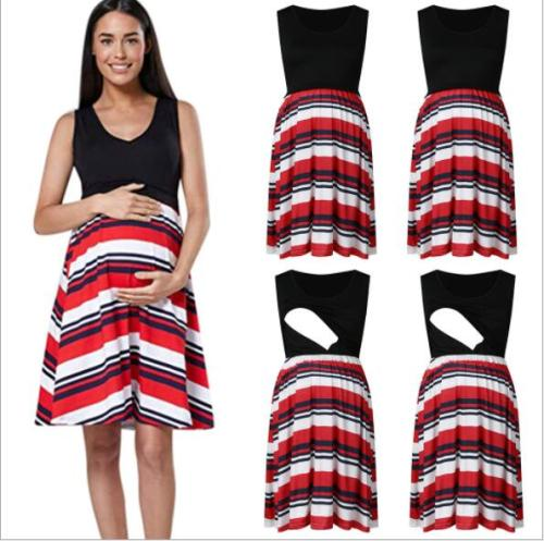 2021 Summer New Fashion Casual Maternity Dress Dresses Sleeveless floral Printed Patchwork Breastfeeding Clothes