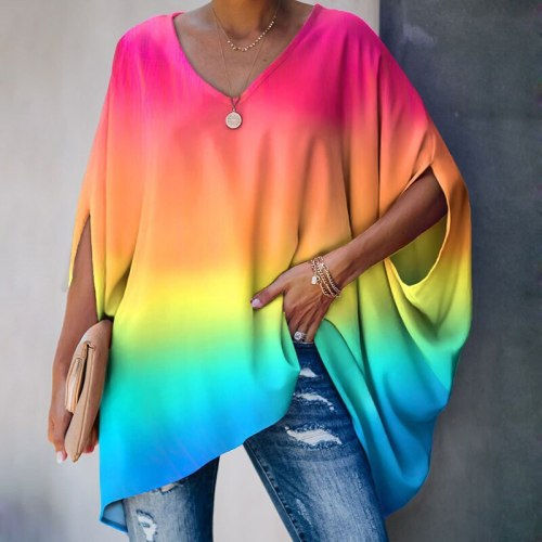 New Casual V Neck Tie Dye Print Bat Sleeve Tops T-shirts Autumn Loose Solid Half sleeve Ladies T-shirts Elegant Hedging T-shirts