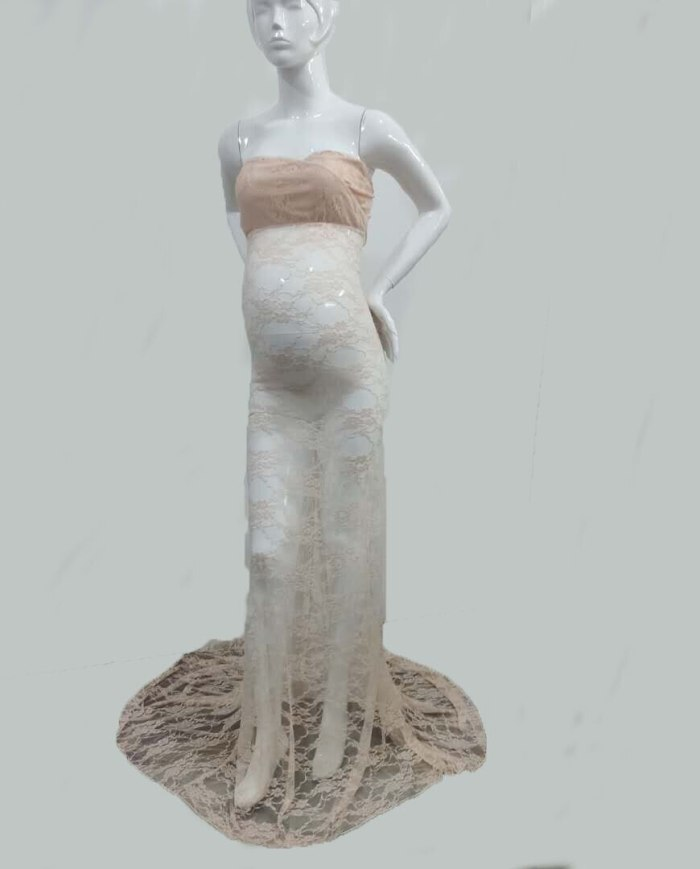Lace Sexy Maternity Dresses Photography Props Long Fancy Pregnancy Dress Shoulderless Maxi Gown For Pregnant Women Photo Shoots