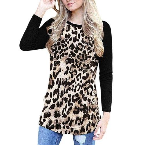 T-Shirts Women O-Neck Leopard Print Long sleeves Easy Pullover Ladies Tops Shirt Plus Size Shirt blusas mujer de moda 2021