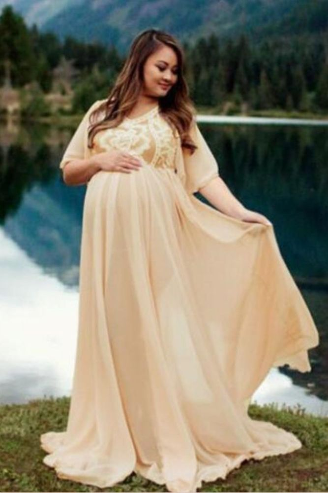 Lace Maternity Dresses for PhotoShoot Summer Short Sleeve Maxi Pregnancy Dress Photography Pregnant Women Baby Shower Long Dress