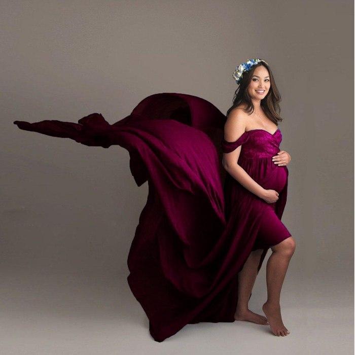 Maternity Dresses for Photo Shoot Baby Shower Chiffon Lace Blue Green CrimsonPregnancy ShootingTulle Elegant Grossesse Vestidos