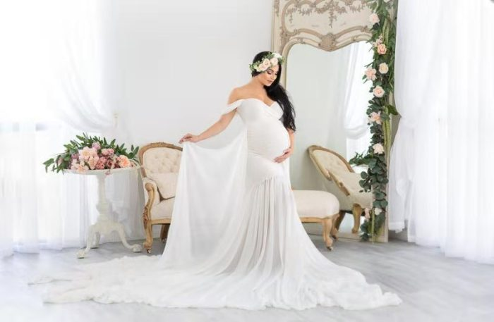 Maternity Dress For Photography Props Sexy Shoulderless White Maxi Dress For Pregnancy Photo Shooting Women Evening Party Gowns