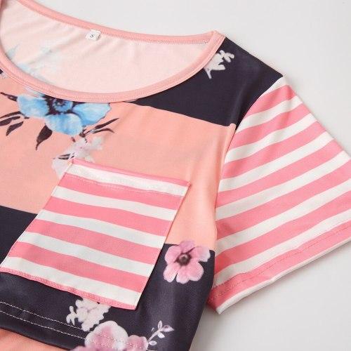 Women's Maternity Breastfeeding T-Shirt Pregnant Clothes Summer O-Neck Short Sleeve Patchwork Striped Flower Loose Nursing Tops