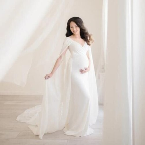 Cute Long Maternity Dress Cloak Chiffon Shoulderless Pregnancy Dress For Photo Shoot Women Pregnant Maxi Gown Photography Prop