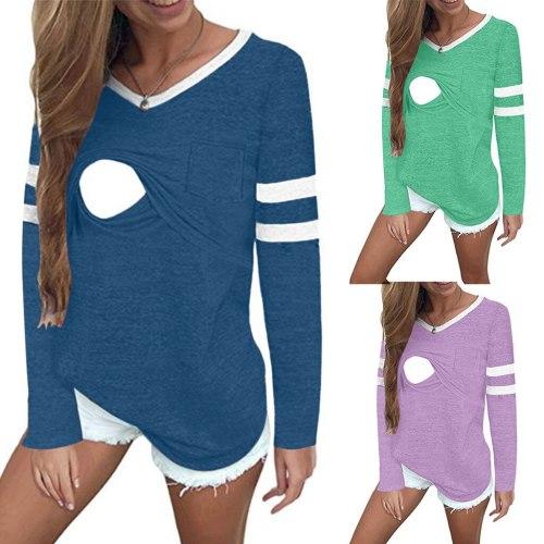 Maternity Women Pregnant Stripe Long Sleeves Solid Nursing Sweatershirt Tops T-shirt Maternity Nursing Breastfeeding Top Shirt