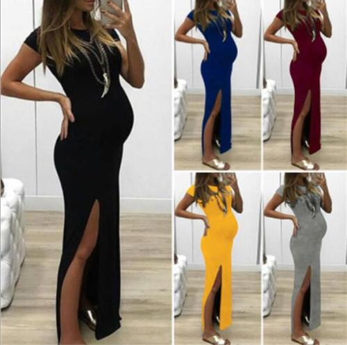 Fashion Women Solid Short Sleeve Open Fork Pregnancy Maternity Dress Pregnancy Dress