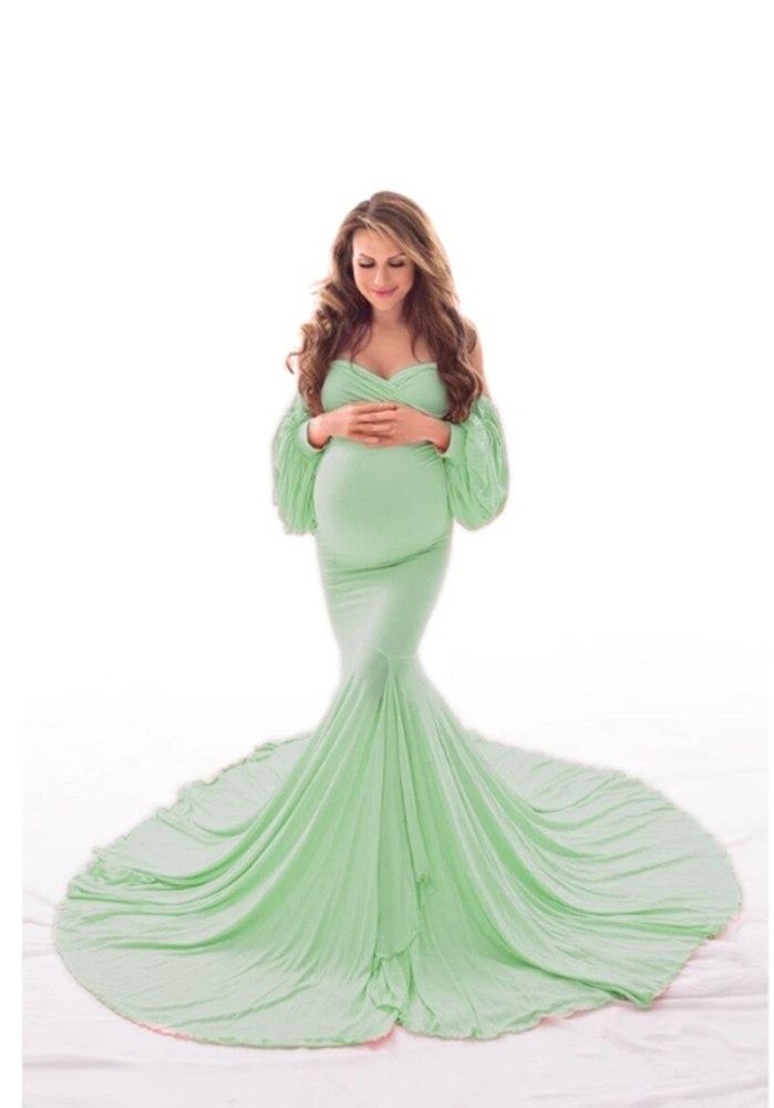 Party Maxi Maternity Dress for Pregnancy Women Slash Neck Mermaid Dress Lattern Long Sleeve Elegant Photography Long Gown Dress