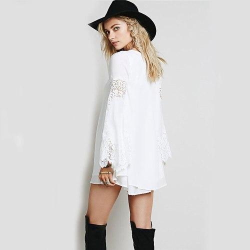 Women Long Sleeved Chiffon Hollow Out lace Dress Autumn Lace Crochet Stitching Mini Dress White Loose A-line Vestidos