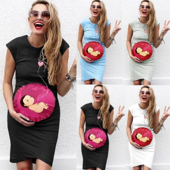 Cute Maternity Dress Round Neck Sleeveless Women's Maternity Pregnanty Dresses Cartoons Print Nursing Breastfeeding Clothes