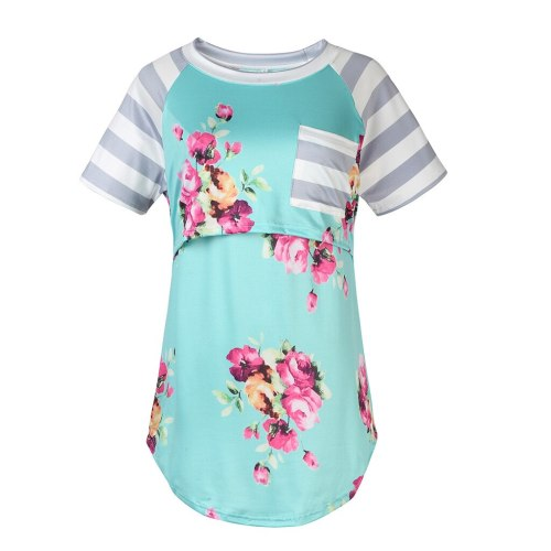Women's T-shirts Maternity Short Sleeve Striped Patchwork Nursing Tops For Breastfeeding Pregnancy Clothes For Pregnant Women