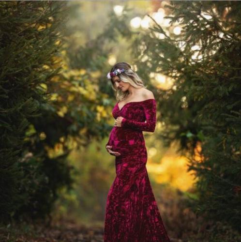 Sexy Maternity Sheathy Photography Dress Pleuche Long Sleeve Pregnancy Photo Shooting Dress Baby Shower Dress Pregnant Women