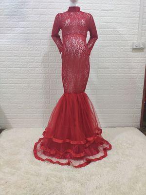 Black Lace Maternity Dress for Photo Shoot Pregnant Women Long Sleeve Splicing Turtleneck Photography Dresses Pregnancy Dress
