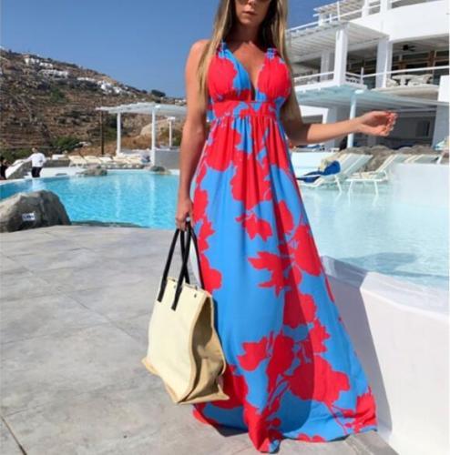 Elegant Print Bohemian Summer Dress Spring Spaghetti Strap Sleeveless Dress Office Lady V-neck Ankle-Length Party Dress