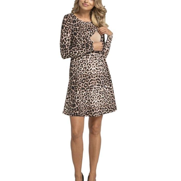 Long-sleeved Womens Leopard Print Maternity Dresses Breastfeeding Dress Round Neck Vestido Pregnancy Dress Elegant Beach Dress