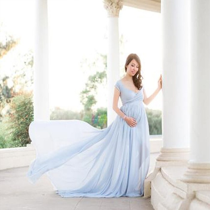 Maternity Off Shoulders Half Circle Gown for Baby Shower Photo Props Dress Maternity photography Props Short Sleeve V-Neck Dress