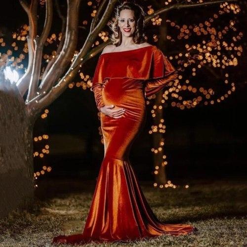 Maternity Long Dress Photography Lurex Gold Velvet Ruffle Collar Fancy Pregnancy Photo Shoot Pregnant New Women Winter Maxi Gown