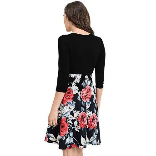 Best selling fashion summer new print V-neck dress explosion models breastfeeding pregnant women big swing skirt