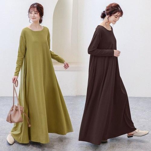 Japan Style Casual Dress Women Autumn New O Neck Long Sleeve Loose Basic Dresses Daily Life Simple Fashion Vestidos