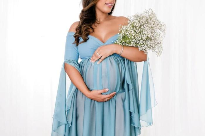 Maternity Dresses For Photo Shoot Chiffon+Cotton Pregnancy Dress Photography Props Maxi Gown Dresses For Pregnant Women Clothes