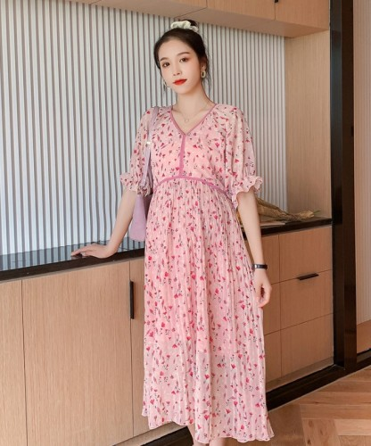 Maternity Sweet V-neck  print cropped sleeves lace dress