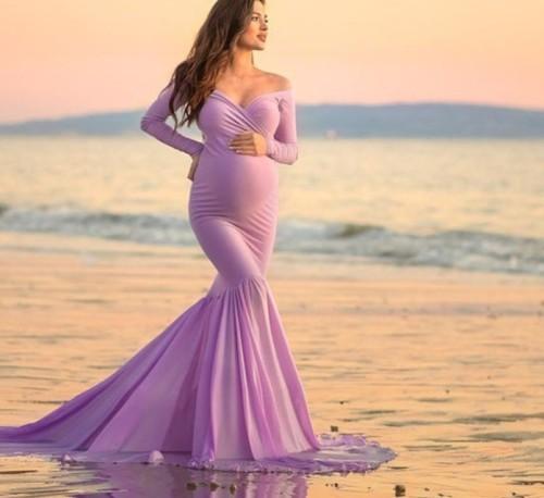 Maternity Off Shoulder Floor-Length Gorgeous Dress