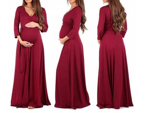 Maternity Casual Pure Color  Hem Dress