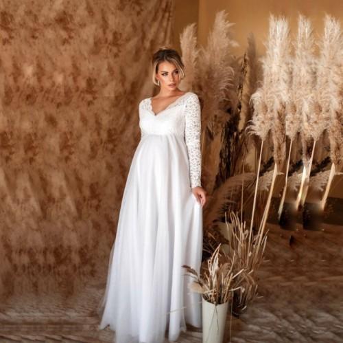 Maternity Off Shoulder Long Sleeve Full Length Dress