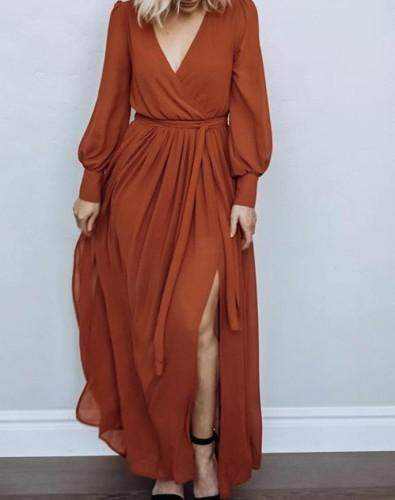 Maternity Long Sleeve Side Slit Full-Length Dress