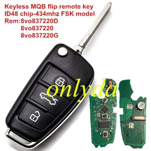 MQB Keyless flip remote key with ID48 chip 434mhz FSK model Rem:8vo837220D 8vo837220 8vo837220G