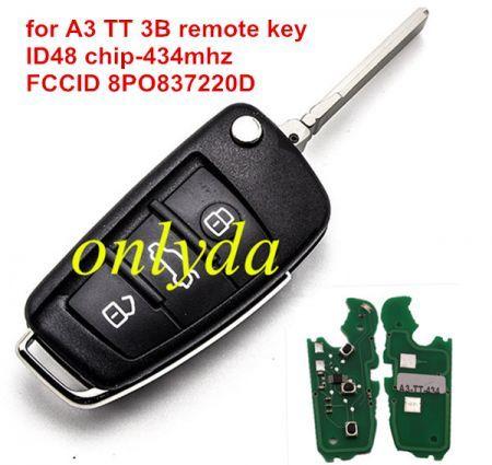 for A3 TT 3B remote key ID48 chip-434mhz FCCID 8PO837220D