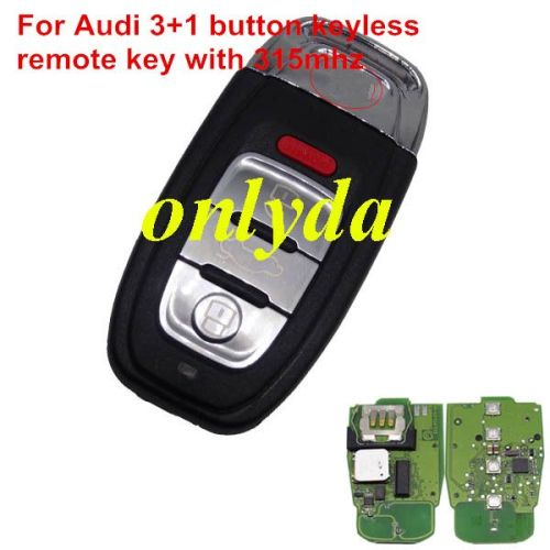 For Audi keyless 3+1 button remote key with 434mhz/315mhz For Audi A6, A8, Q3,Q5,Q7, only your remote key is like this, all remote key can use