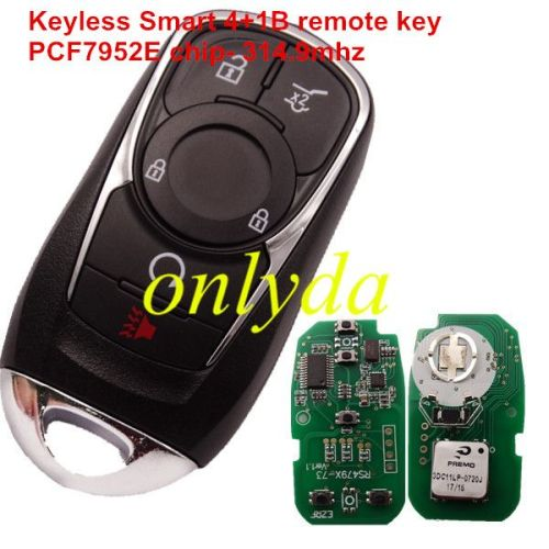 Keyless Smart 4+1B remote key with PCF7952E chip- 314.9mhz ASK model