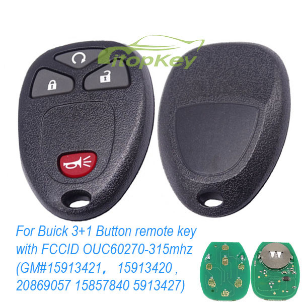 For Buick 3+1 Button remote key with FCCID OUC60270-315mhz