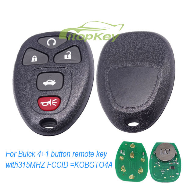 For Buick 4+1 button remote key with 315MHZ FCCID =KOBGT04A