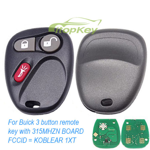For Buick 3 button remote key with 315MHZ N BOARD FCCID - KOBLEAR1XT