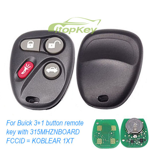 For Buick 3+1 button remote key with 315MHZ D BOARD FCCID = K0BUT1BT