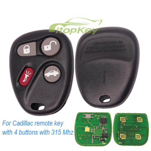 For Cadillac remote key with 4 buttons with 433 Mhz