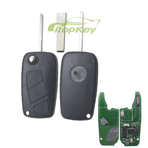 For Fiat Delphi BSI 3 button remote key With PCF7946AT Chip and 433.92Mhz Transponder: ID46 – PCF7946 Philips Crypto 2 / Hitag2 (black)