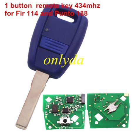 For Fir 114 and Punto 188 1 button remote key with 434mhz in blue color ,programmed by Zedfull