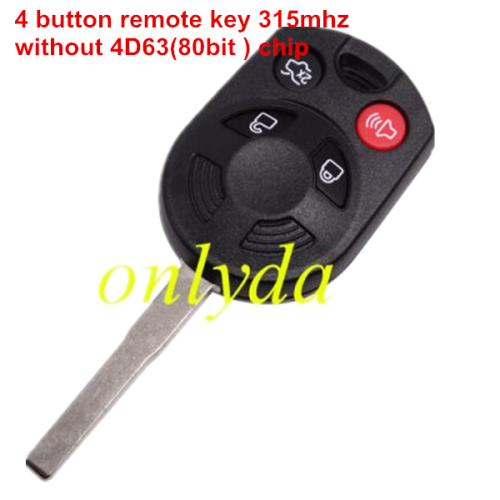 For ford 4 button remote key with 315mh
