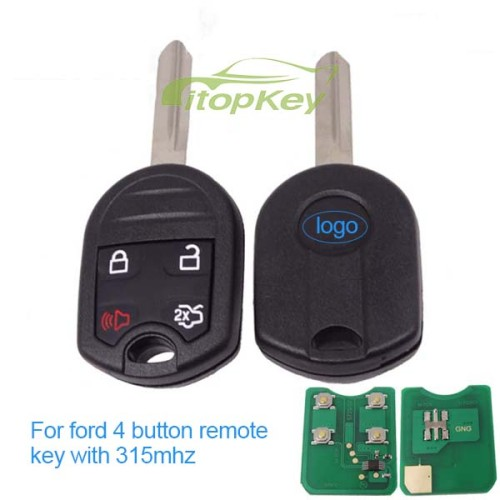 For Ford 4 button remote key with 315mhz/433.92mhz