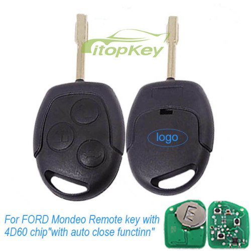 For FORD Mondeo 3 Button Remote key with 4D60 chip  with auto close function  with 315mhz and 434mhz